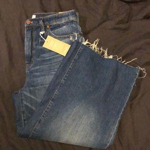 Madewell wide leg crop Jeans Raw Hem